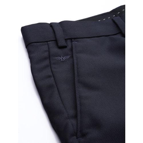 Park Avenue Men Navy Blue Super Slim Fit Self Design Formal Trousers