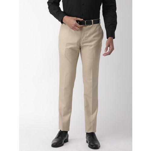 Raymond Men Beige Slim Fit Solid Formal Trousers