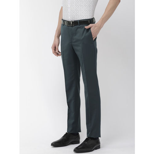 Raymond Men Teal Blue Slim Fit Solid Formal Trousers