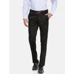John Players Men Black Slim Fit Solid Formal Trousers
