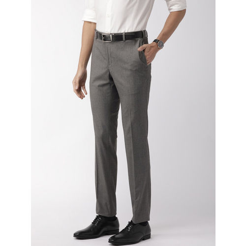 Raymond Men Grey Slim Fit Solid Formal Trousers