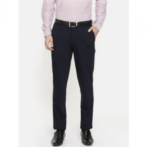 John Players Men Navy Blue Skinny Fit Solid Formal Trousers