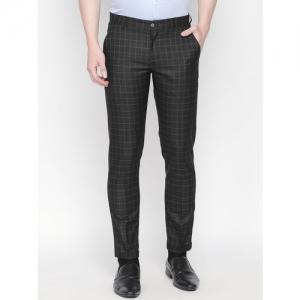 Solemio Men Black & White Slim Fit Checked Formal Trousers