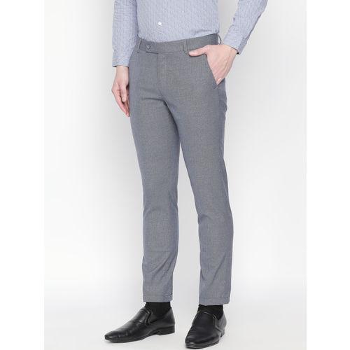 Solemio Men Blue & Grey Slim Fit Self Design Formal Trousers