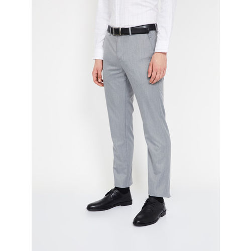 CODE by Lifestyle Men Grey Slim Fit Solid Formal Trousers