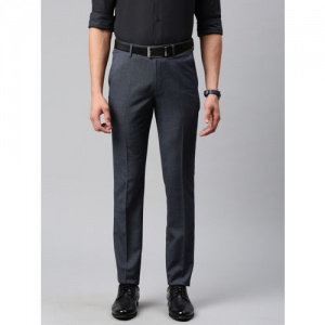 Peter England Men Grey Neo-Slim Fit Self Design Formal Trousers
