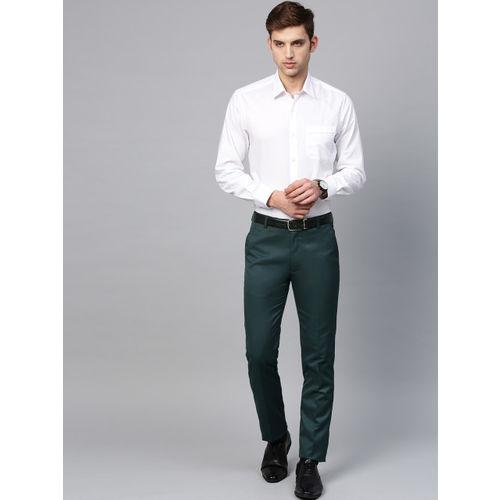 MANQ Men Green Smart Slim Fit Solid Formal Trousers