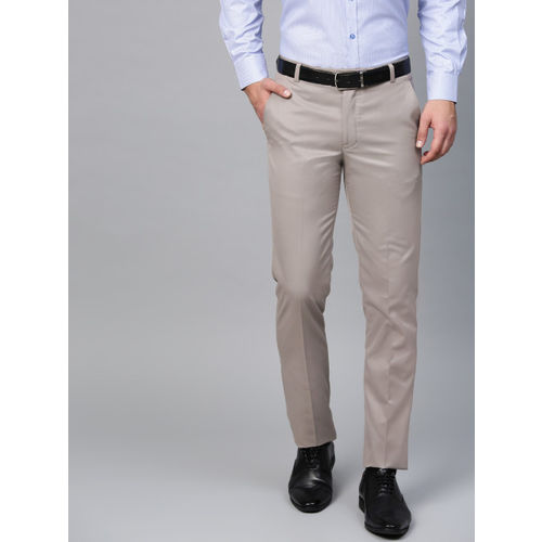 MANQ Men Grey Smart Slim Fit Solid Formal Trousers