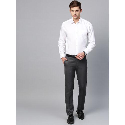 MANQ Men Charcoal Grey Smart Slim Fit Solid Formal Trousers
