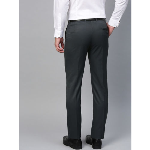 MANQ Men Charcoal Grey Smart Slim Fit Solid Formal Trousers