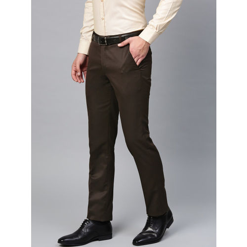 MANQ Men Coffee Brown Smart Slim Fit Solid Formal Trousers