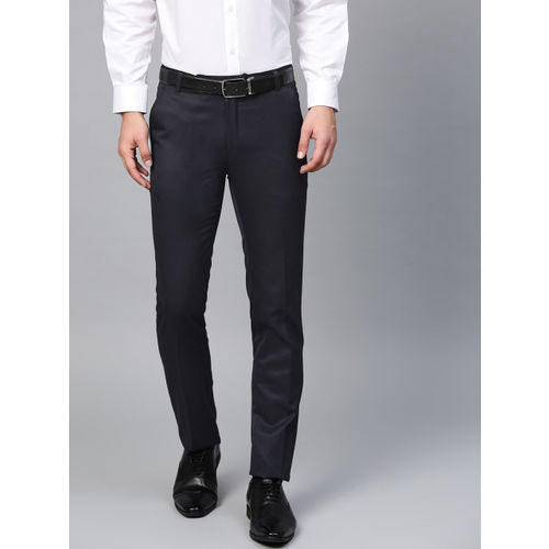 MANQ Men Navy Blue Smart Slim Fit Solid Formal Trousers