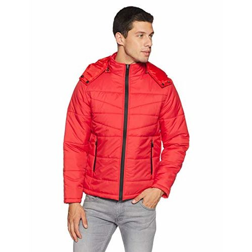 Qube By Fort Collins Men's Quilted Jacket (G 123 SMU_Red_M)
