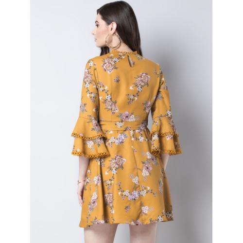 FabAlley Women Yellow Printed A-Line Dress