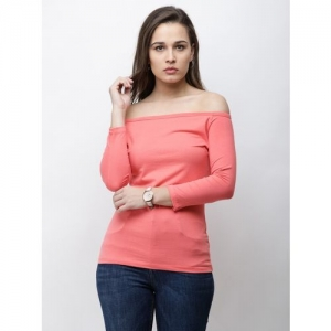 Cation Casual Regular Sleeve Solid Women Pink Top