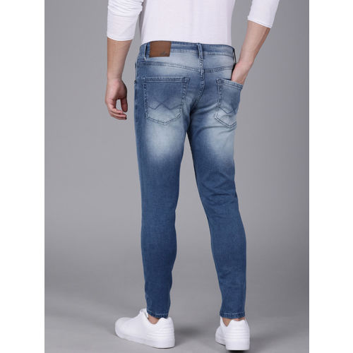 WROGN Men Blue Tapered Fit Mid-Rise Clean Look Stretchable Jeans