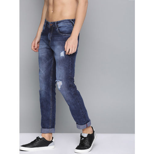 HERE&NOW Men Blue Slim Fit Mid-Rise Highly Distressed Stretchable Jeans