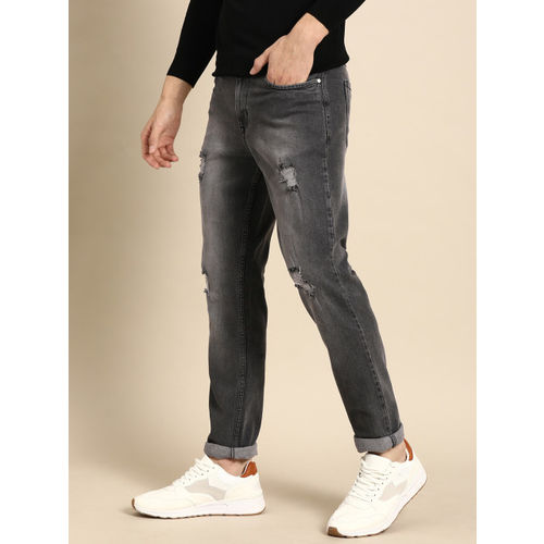 ether Men Grey Slim Fit Mid-Rise Mildly Distressed Stretchable Jeans