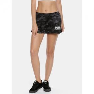 Puma Black Cotton Printed Short
