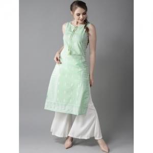 HERE&NOW Green Cotton Printed Straight Kurta