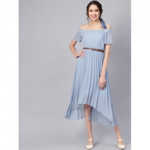 SASSAFRAS Blue Solid Casual Dress
