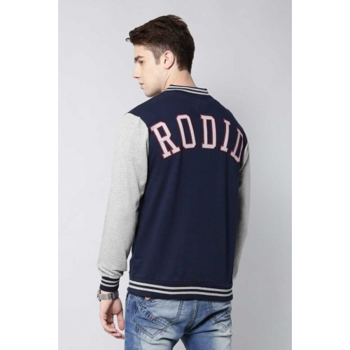 Rodid Navy Blue Cotton Full Sleeve Solid Sweatshirt