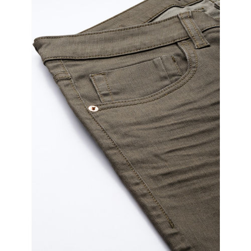 Flying Machine Men Olive Green Jackson Skinny Fit Mid-Rise Clean Look Stretchable Jeans