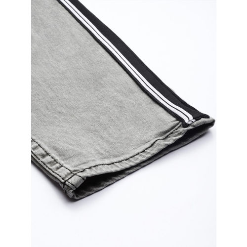 HERE&NOW Men Grey Slim Fit Mid-Rise Clean Look Stretchable Jeans With Side Strip Detail
