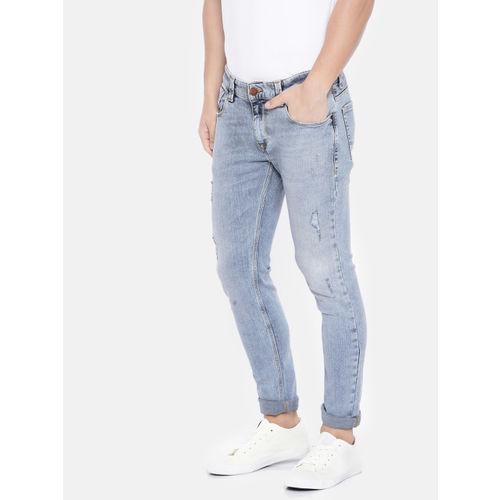 SPYKAR Men Blue Super Skinny Fit Low-Rise Mildly Distressed Stretchable Jeans