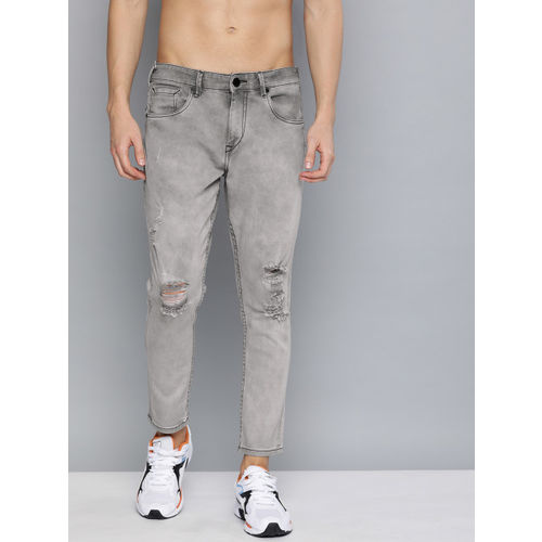 HERE&NOW Men Grey Ankle Slim Tapered Fit Mid-Rise Mildly Distressed Stretchable Jeans