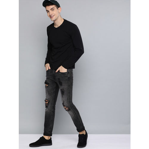 HERE&NOW Men Black Slim Fit Mid-Rise Mildly Distressed Stretchable Jeans
