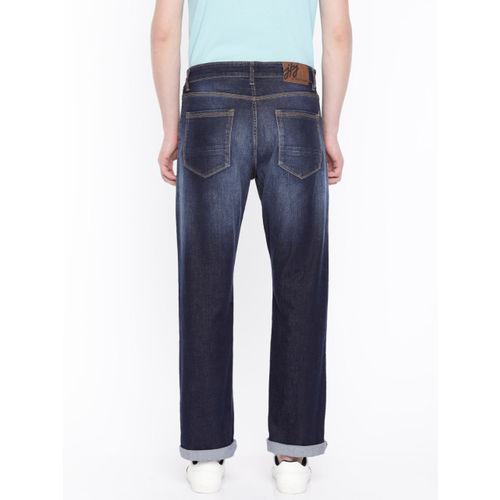 John Players Men Blue Regular Fit Mid-Rise Clean Look Stretchable Jeans