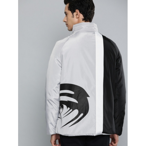 HERE&NOW Men Black & Grey Colourblocked Padded Jacket With Printed Details