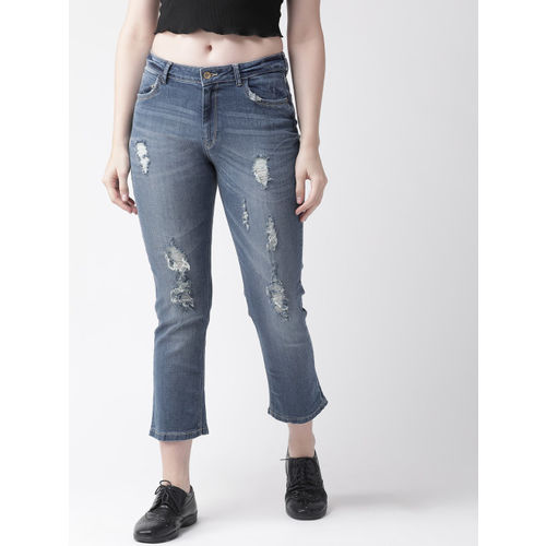 Flying Machine Women Blue Straight Fit Mid-Rise Mildly Distressed Stretchable Jeans