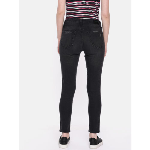 SPYKAR Women Black Adora Skinny Fit Mid-Rise Low Distress Cropped Stretchable Jeans