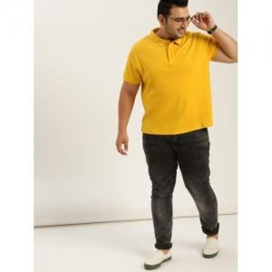 Sztori Men Yellow Solid Polo Collar T-shirt
