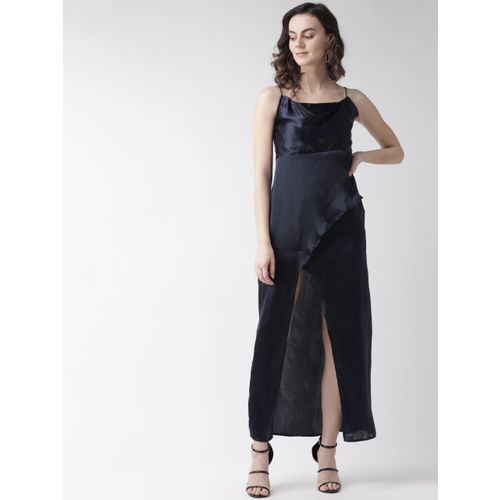 MISH Women Navy Blue Solid Wrap Maxi Dress