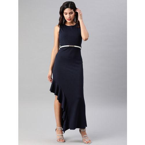 Athena Navy Blue Ruffled Sheath Maxi Dress