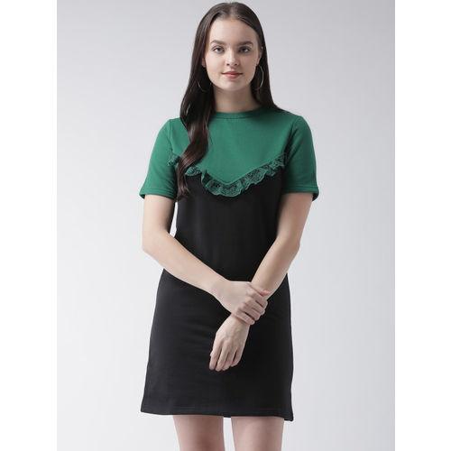 The Vanca Women Black Colourblocked T-shirt Dress