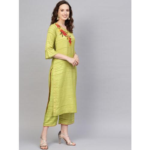 Indo Era Women Green Striped Kurta with Palazzos & Dupatta