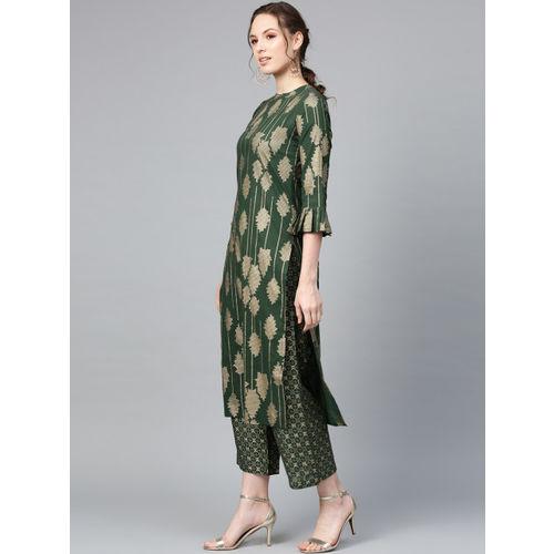 Indo Era Women Green & Beige Printed Kurta with Palazzos & Stole