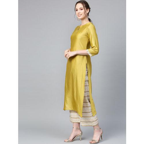 Indo Era Women Green & Beige Solid Kurta with Striped Palazzos & Stole