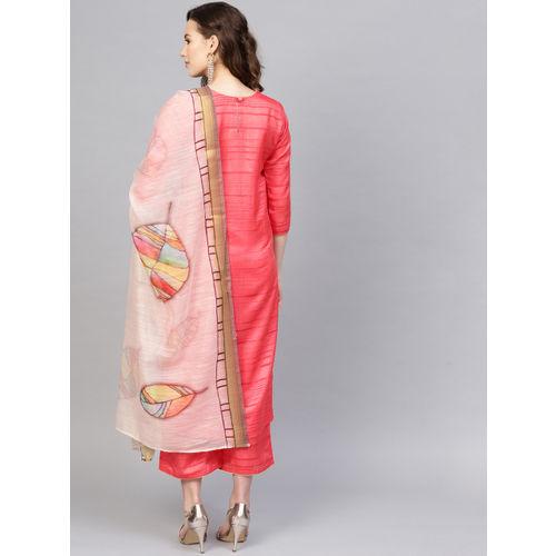 Indo Era Women Coral Red & Cream-Coloured Striped Kurta with Palazzos & Dupatta