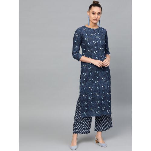 Indo Era Women Navy Blue & Off-White Printed Kurta with Palazzos