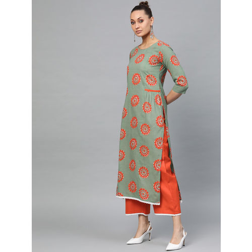 Indo Era Women Green & Orange Printed Kurta with Palazzos