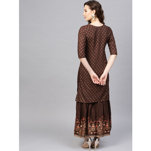 Indo Era Women Coffee Brown & Gold-Toned Foil Print Kurta with Sharara