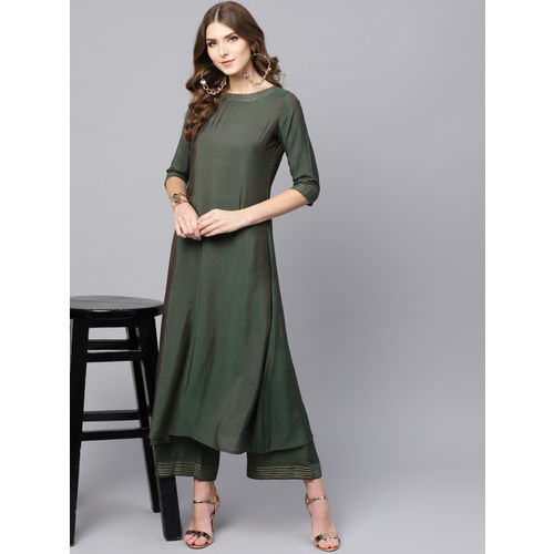 Indo Era Women Olive Green Solid Kurta with Palazzos