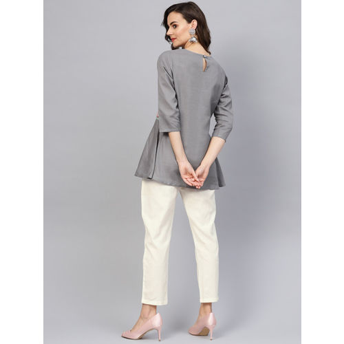Indo Era Women Grey & Off-White Solid Kurti with Trousers