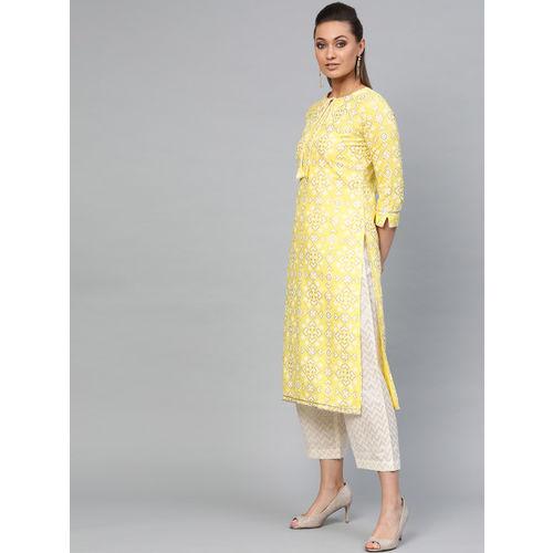 Indo Era Women Yellow & Off-White Printed Kurta with Palazzos