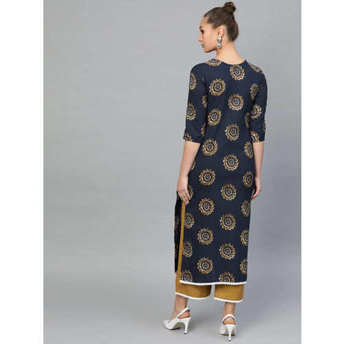 Indo Era Women Navy Blue & Mustard Brown Printed Kurta with Palazzos